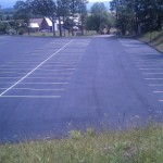 Large parking lot paved and line striped for church