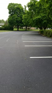Parking lot in commercial area with detailed line striping and trees in background