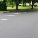 Parking lot in commercial area with detailed line striping