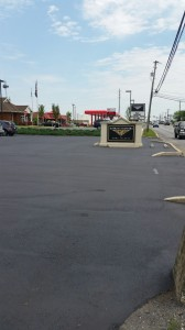 Large parking lot paved for shopping area