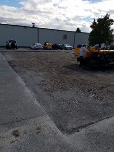 torn up parking lot