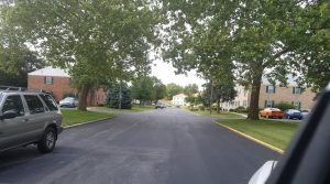 paved street in residential area