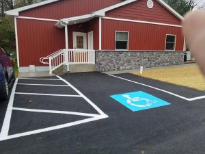 Paved parking area with new lines
