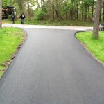 closeup of fresh and level paved driveway