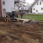 Skid steer used to lay foundation for driveway