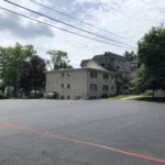 repaved lot near building