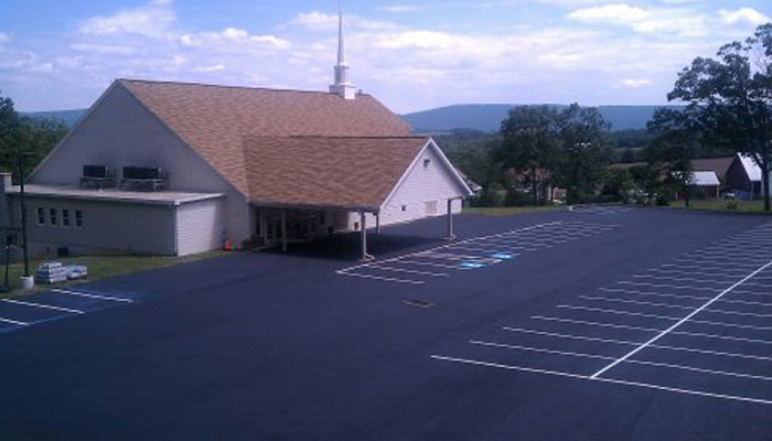 new parking lot paving at church